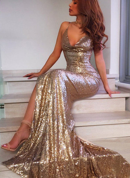 Night Star Sexy dress-Gold