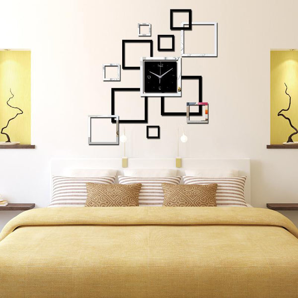 Wall Clock Acrylic Mirror - Refined Squares Design
