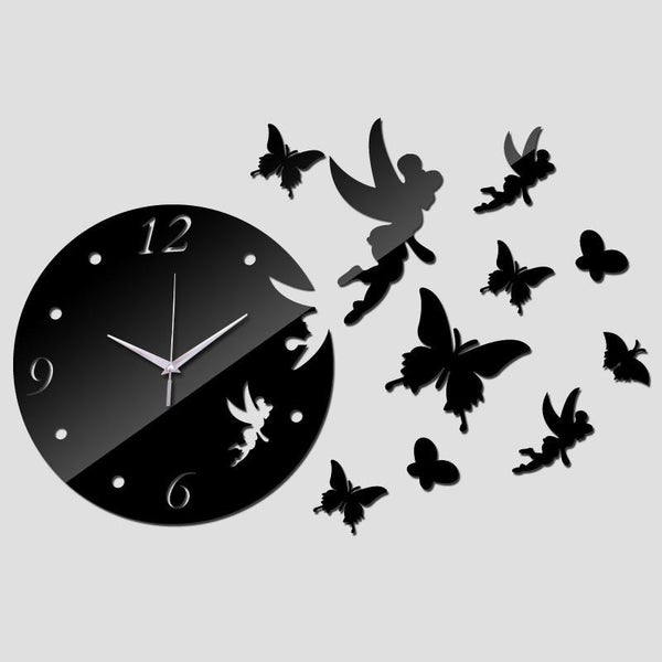 Wall Clock Acrylic Quartz for Kids - Fairy and Butterflies design