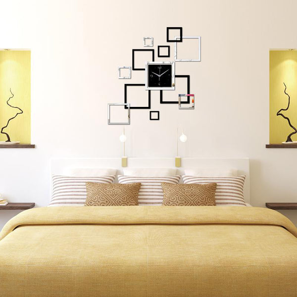 Living Room Wall Clock  Acrylic Square Design