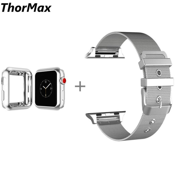 Stainless Steel Bracelet Strap Band with TPU Case Cover for Apple Watch Series 1/2 Series 3 with Classic Buckle 38/42mm