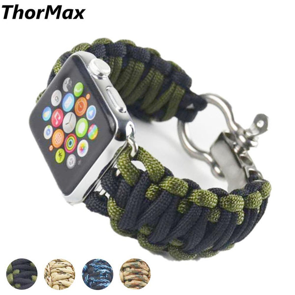 Outdoor Woven Watchband Sport Nylon Strap Umbrella Rope linen bracelet for apple watch Survival 42mm 38mm Series 1/2 Series 3