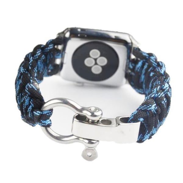 Sport Nylon Strap Umbrella Rope linen bracelet for apple watch Survival 42mm 38mm Series 1/2 Series 3 Outdoor Woven Watchband