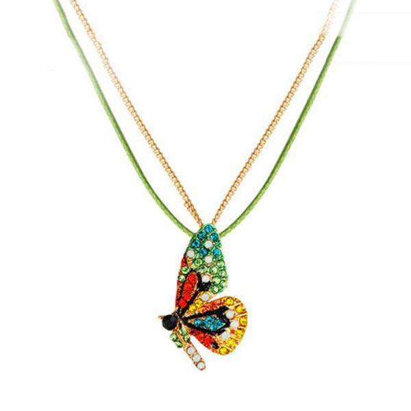 Butterfly Pendant Necklace-Crystal Studded