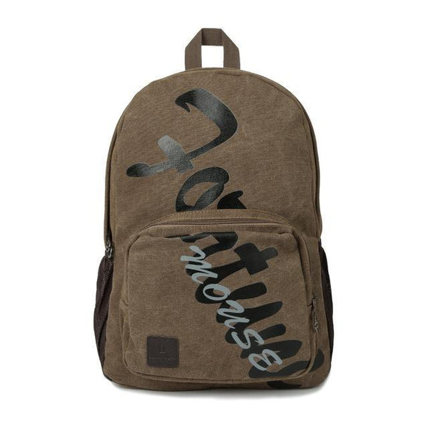 Canvas Backpack Letter Print Multi-Pocket Zipper Solid Army