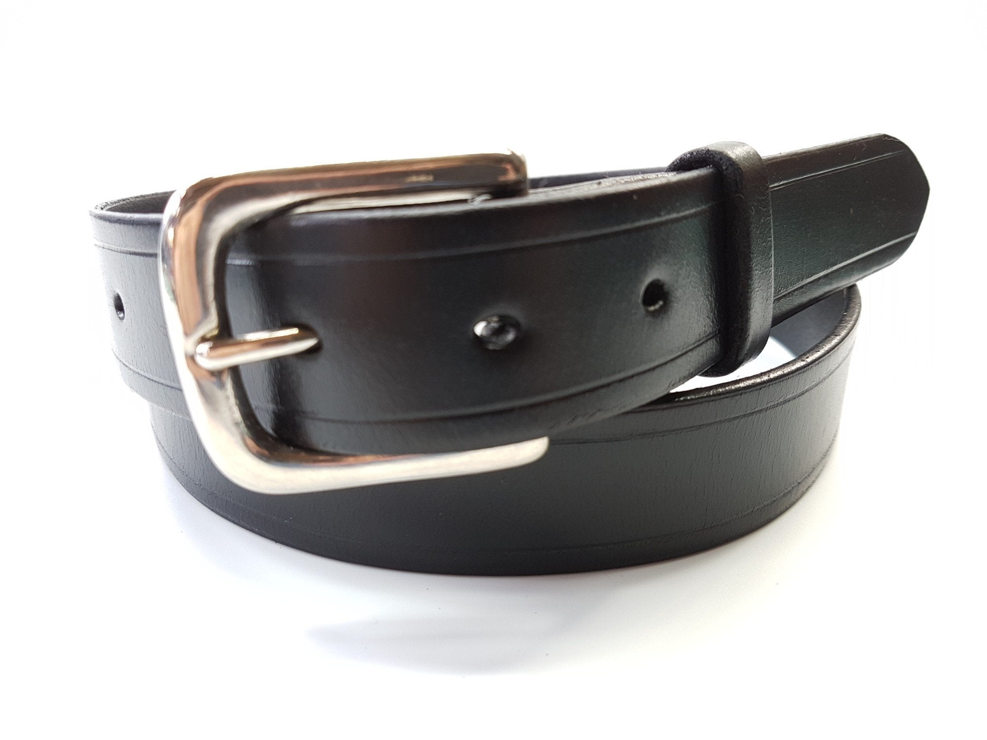"(No 102)  38"" Trouser size 1  1/4"" wide Black Bridle Leather Belt"