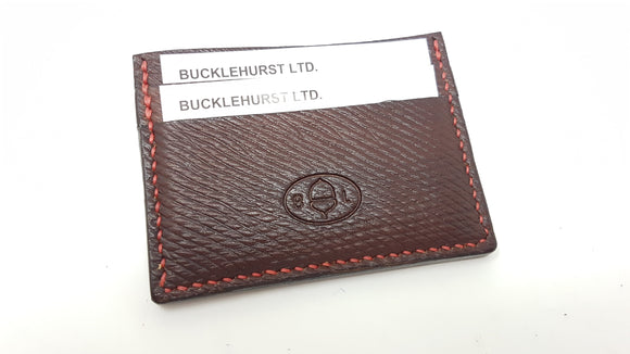 (W18) Leather credit card Wallet Hand Stitched made with Oxblood Russian Hatch Leather.