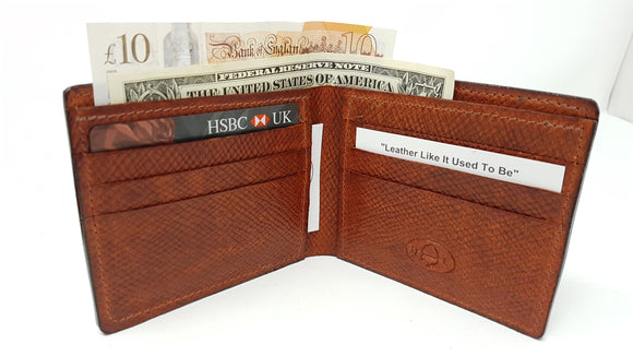 (W21) Leather Bifold Wallet made with two special Hatch Leathers - straight pockets.