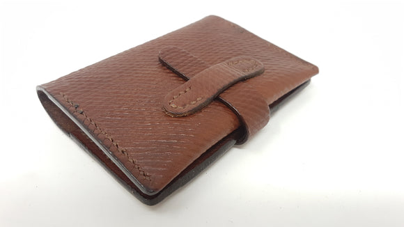(W25) Leather Mini Two Pocket Wallet Hand Stitched (Brown Thread) made with Oxblood Russian Hatch Leather.