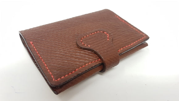 (W26) Leather Mini Two Pocket Wallet Hand Stitched (Red Thread) made with Oxblood Russian Hatch Leather.