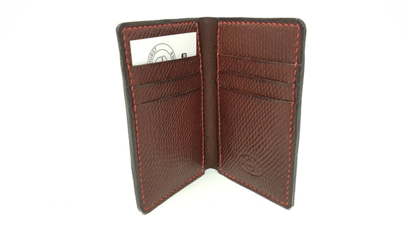 (W7) Leather Vertical Wallet made with Oxblood Russian Hatch Leather And Red Thread Hand Stitching.