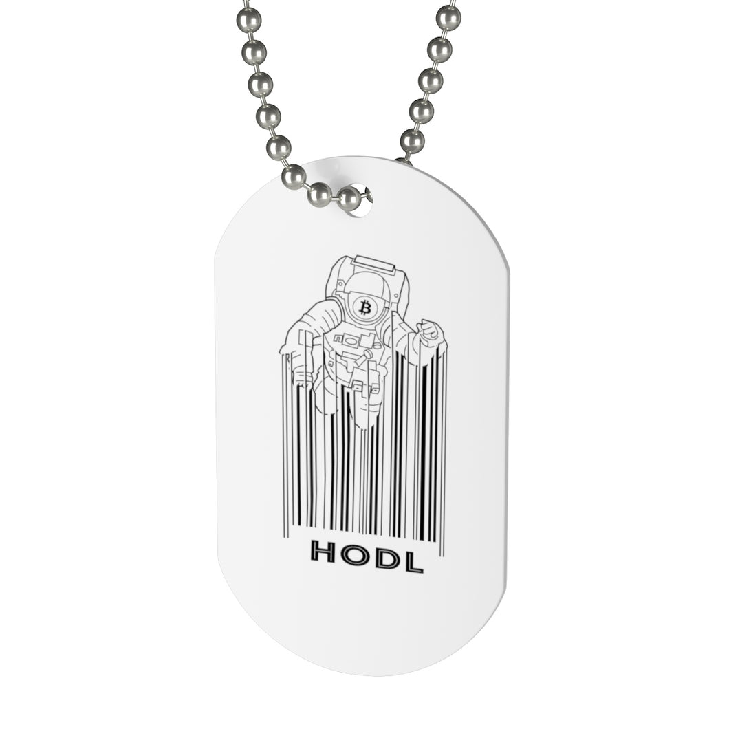 Bitcoin Spaceman Hodl Dog Tag | Cryptotshirt.com