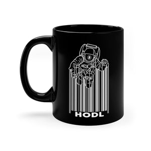 Bitcoin Spaceman Black Mug 11oz | Cryptotshirt.com