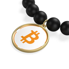 Load image into Gallery viewer, Bitcoin Matte Onyx Bracelet | Cryptotshirt.com