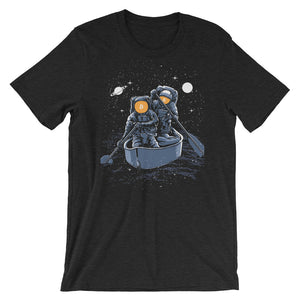 Bitcoin Spacemen Ocean Starts Moon Hodl Short-Sleeve T-Shirt | Cryptotshirt.com