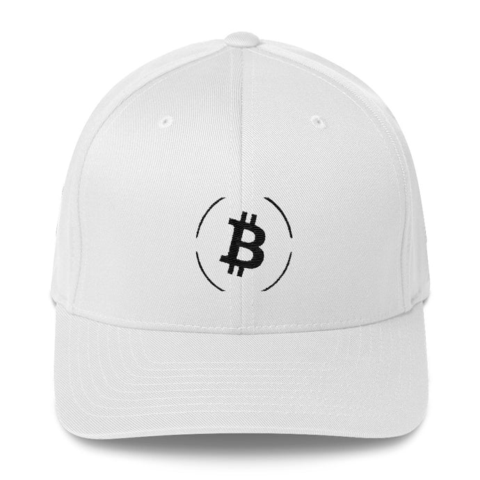 Bitcoin White Flex Fit Cap | Cryptotshirt.com