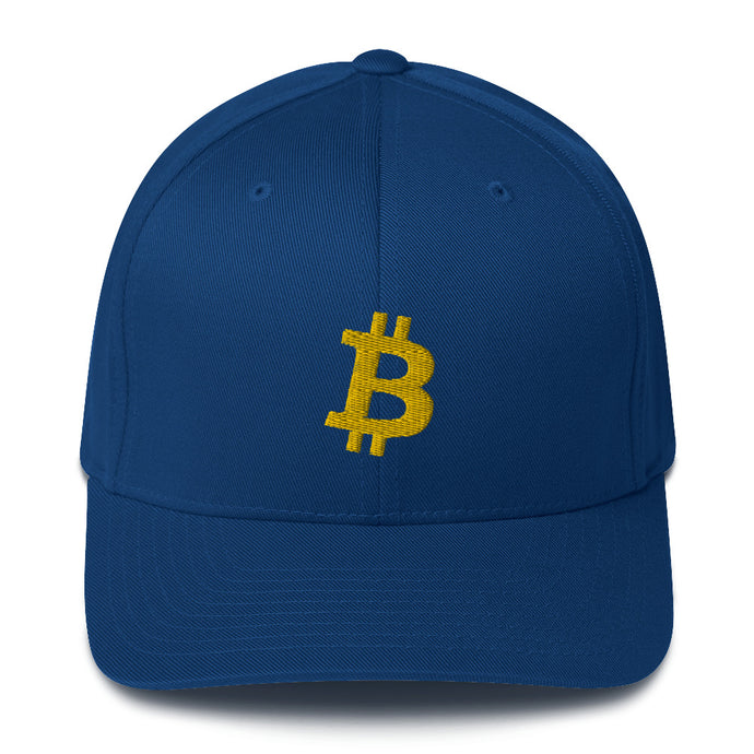 Blue and Gold Bitcoin Flexfit | Cryptotshirt.com