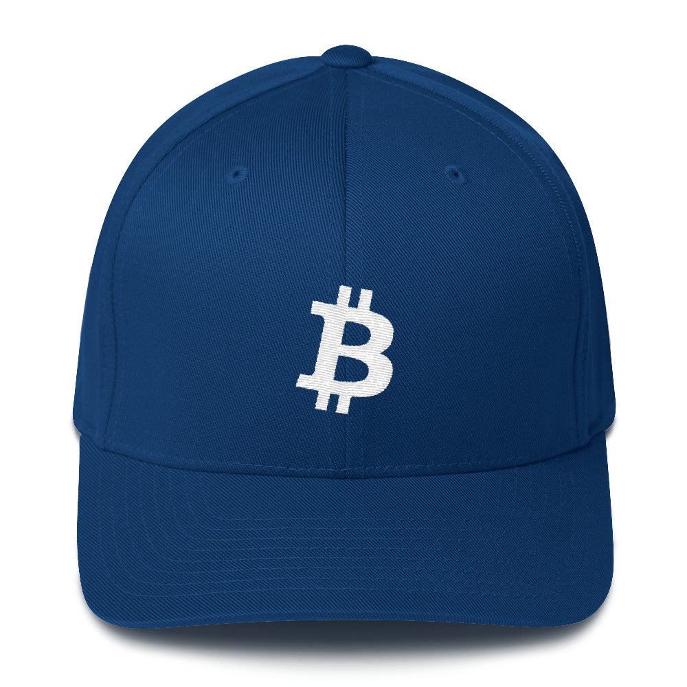 The Bitcoin Flex Fit Blue Cap | Cryptotshirt.com