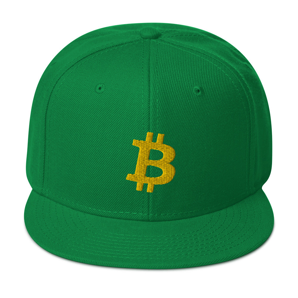 Bitcoin Green and Gold Snapback Hat | Cryptotshirt.com