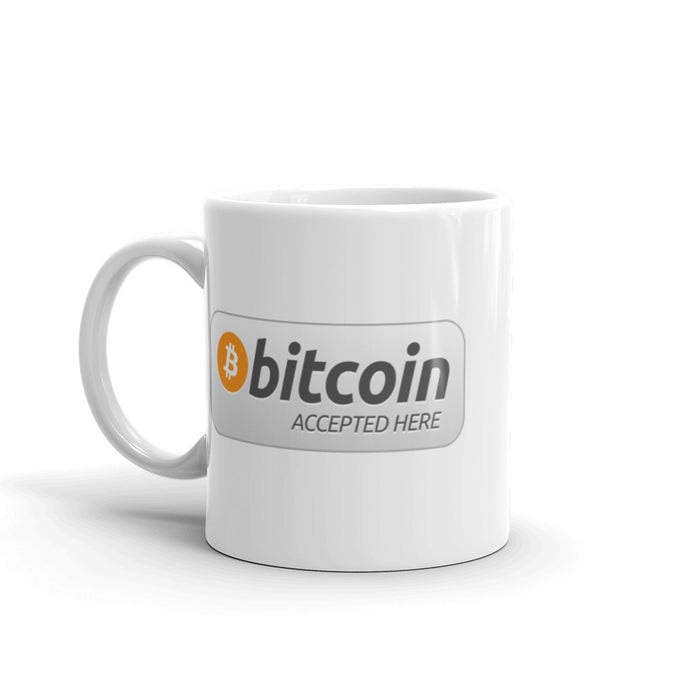 Bitcoin Accepted Here Ceramic Coffee Mug | Cryptotshirt.com