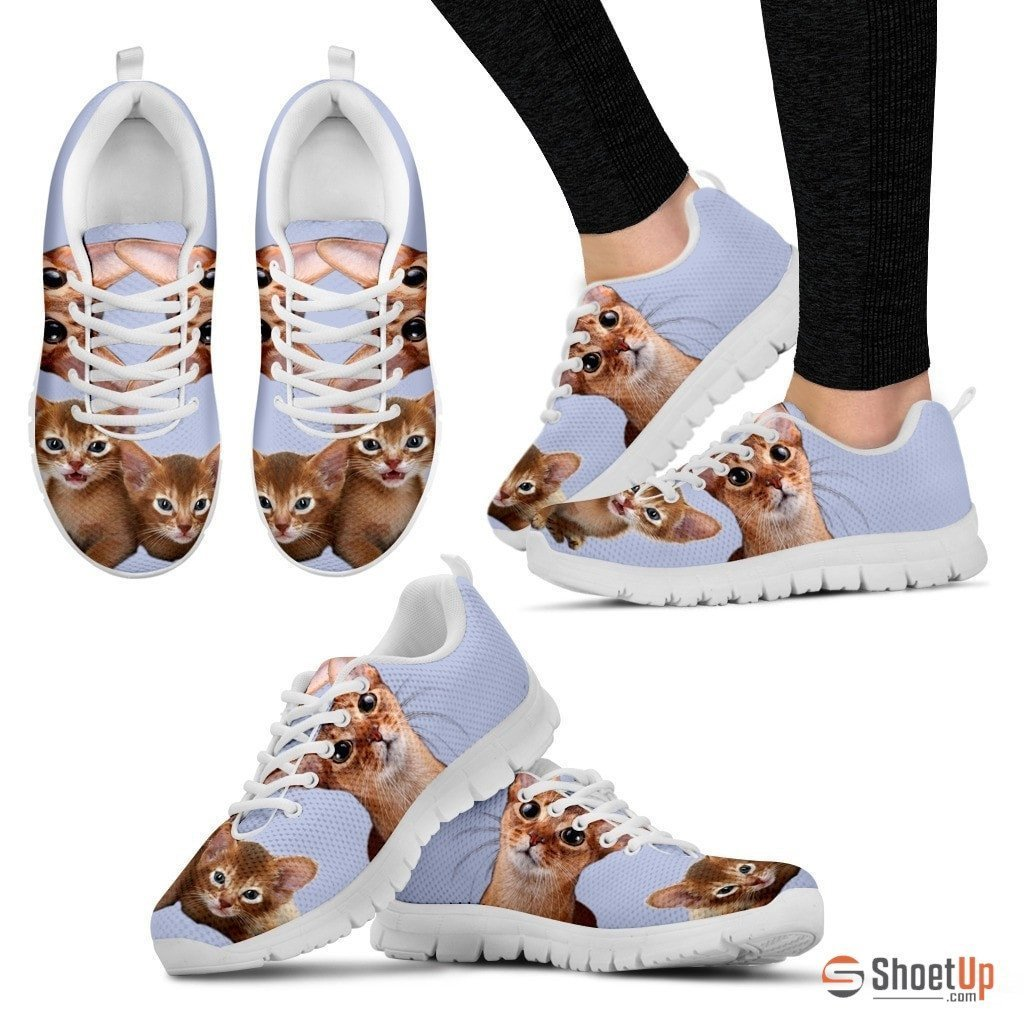Abyssinian Cat Print (White/Black) Running Shoes For Women-Free Shipping