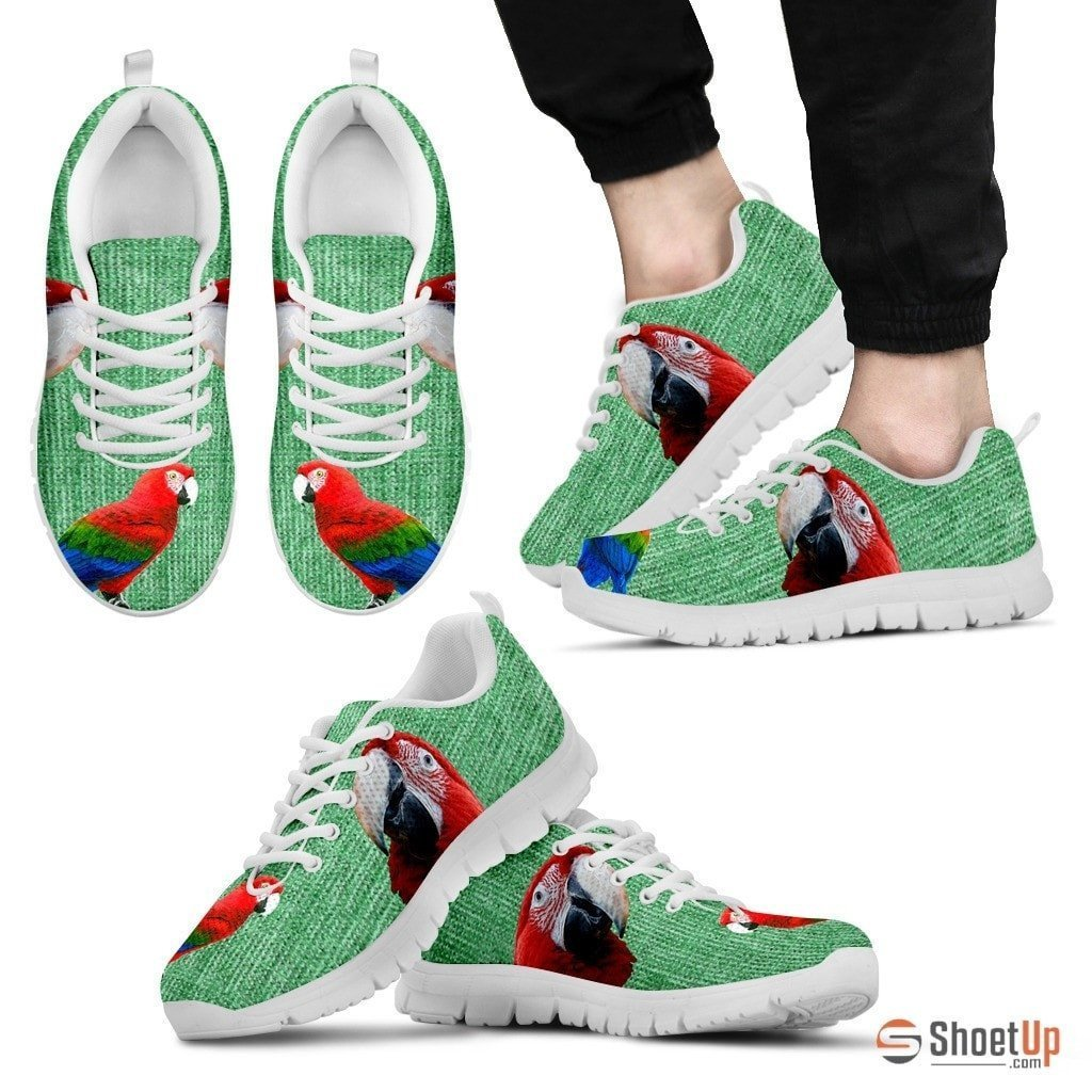 Red And Green Macaw Parrot Running Shoes For Men-Free Shipping Limited Edition