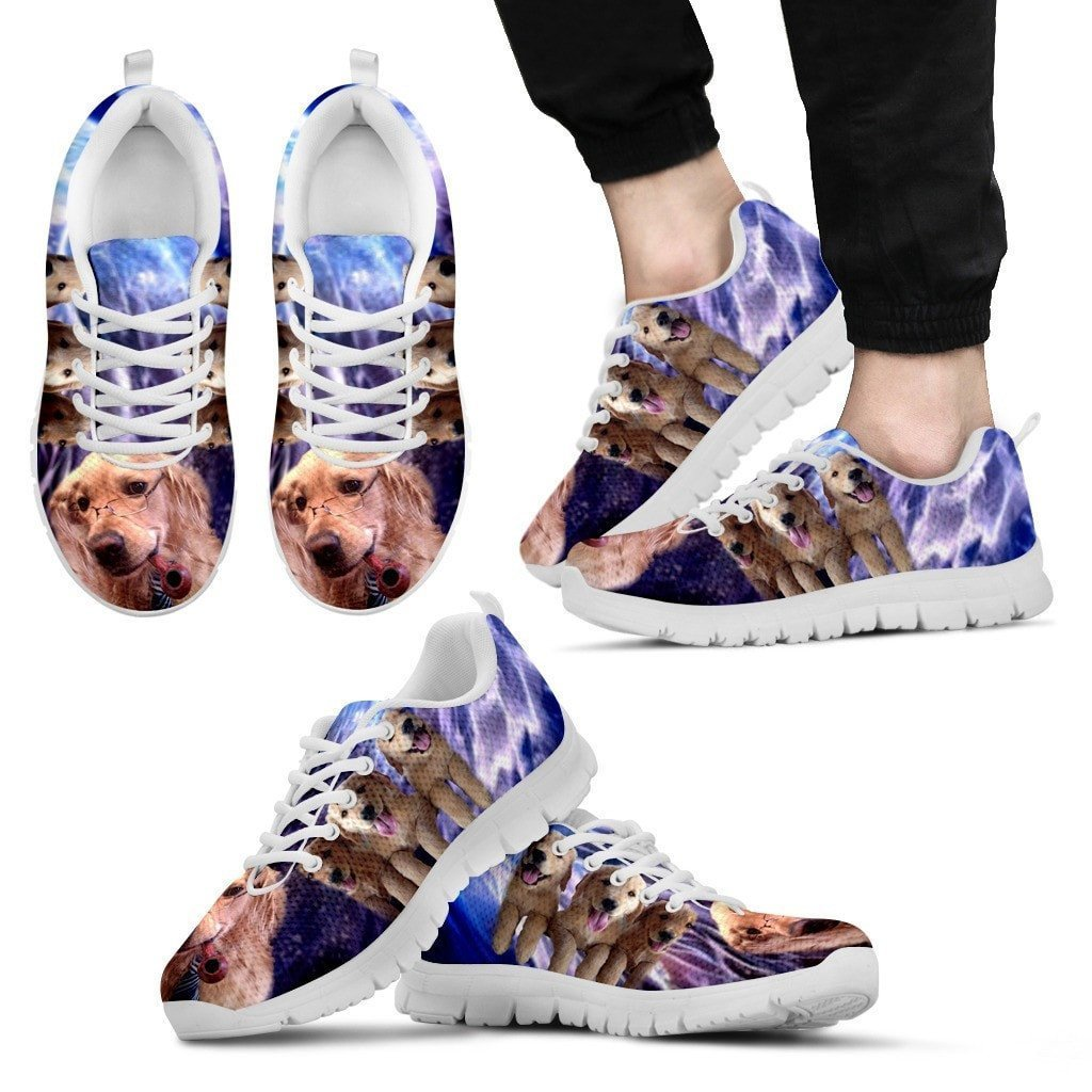 Golden Retriever With Glass Print Running Shoe For Men- Free Shipping