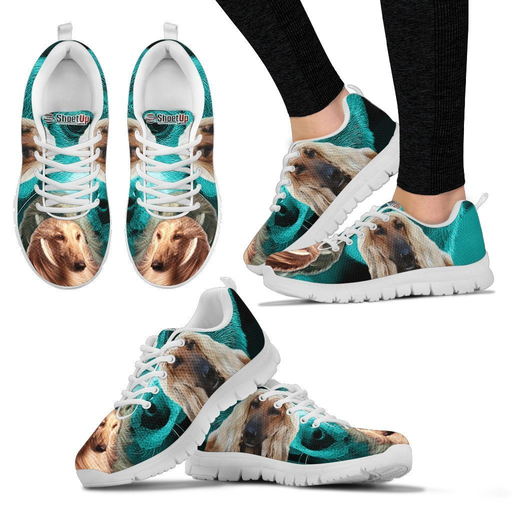 Afghan Hound On Deep Skyblue Print Running Shoes For Women- Free Shipping