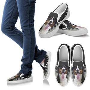 Greater Swiss Mountain Dog Print Slip Ons For Women-Express Shipping