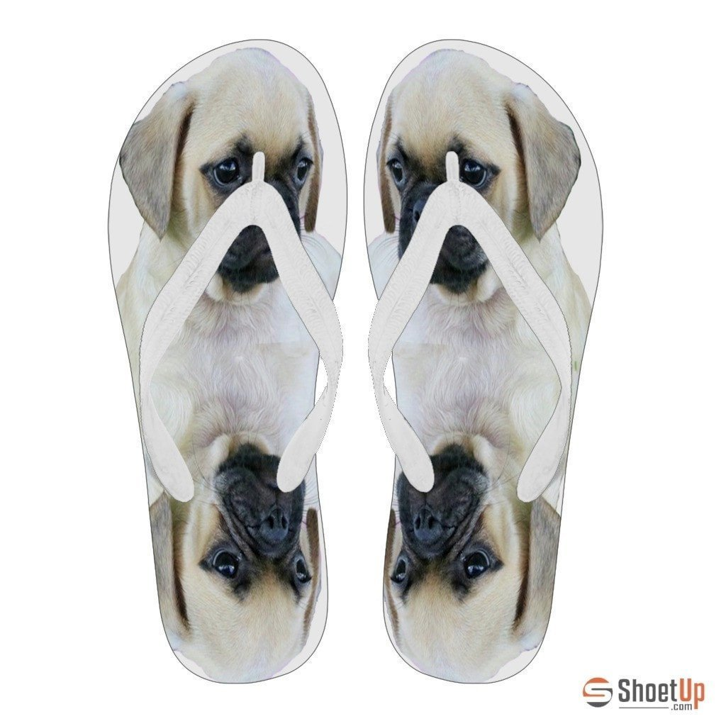 Puggle Puppy Print Flip Flops For Women-Free Shipping