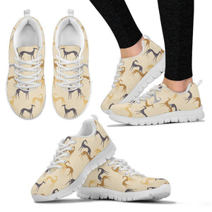 Whippet Dog Pattern Print Sneakers For Women- Express Shipping