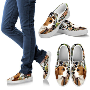 Amazing Beagle Dog Print Slip Ons For Women-Express Shipping