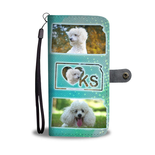 Cute Poodle Dog Print Wallet Case-Free Shipping-KS State