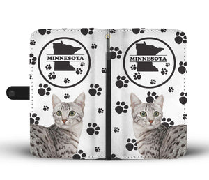 Egyptian Mau Cat Print Wallet Case-Free Shipping-MN State