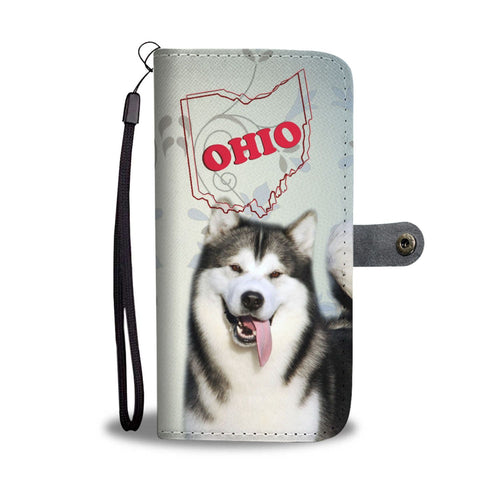 Alaskan Malamute Print Wallet Case-Free Shipping-OH State