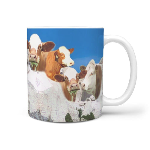 Simmental Cattle (Cow) Mount Rushmore Art Print 360 White Mug