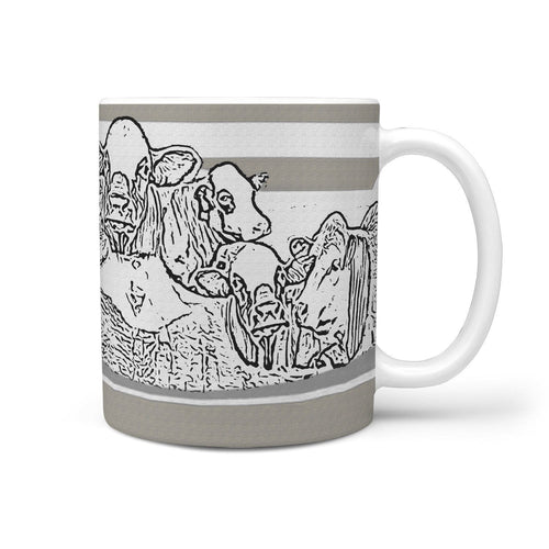 Simmental Cattle (Cow) Mount Rushmore Print 360 White Mug