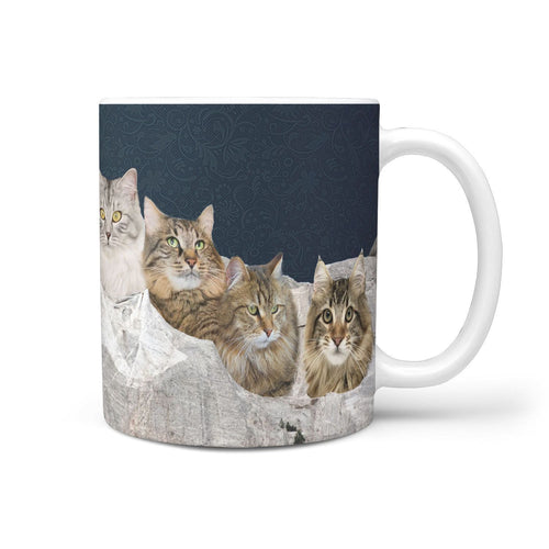 Siberian Cat On Mount Rushmore Print 360 Mug