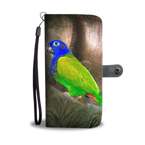 Blue Headed  Parrot Print Wallet Case-Free Shipping