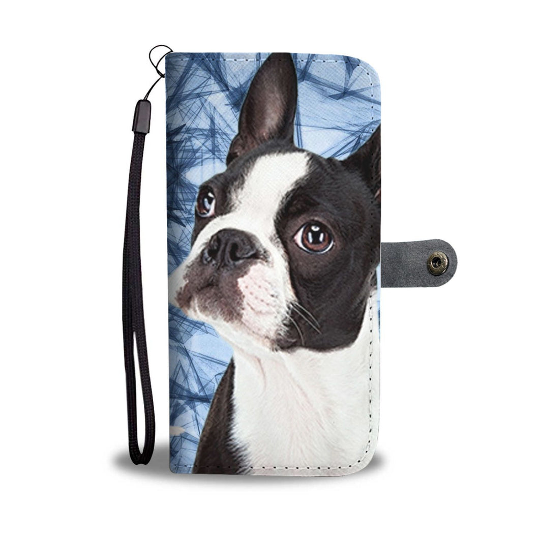 Boston Terrier On Blue Print Wallet Case- Free Shipping