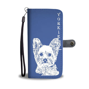 Yorkshire Terrier (Yorkie) On Blue Print Wallet Case-Free Shipping
