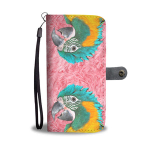 Lovely Blue Headed Parrot Print Wallet Case-Free Shipping