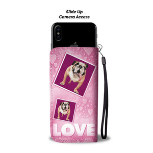 Bulldog with Love Print Wallet Case-Free Shipping