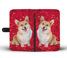 Cardigan Welsh Corgi Dog On Hearts Print Wallet Case-Free Shipping