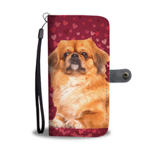 Pekingese Dog On Red Hearts Print Wallet Case-Free Shipping