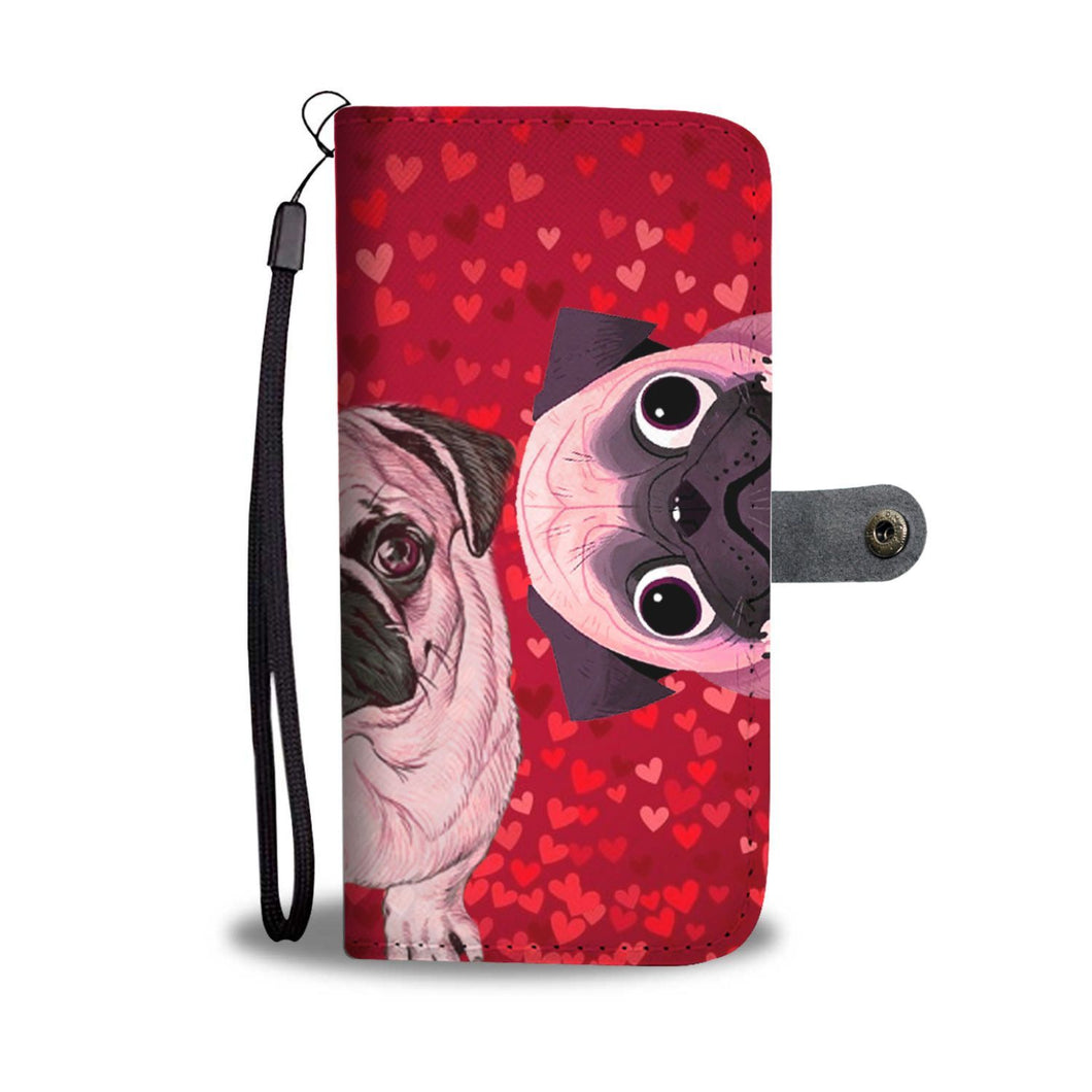 Pug Dog On Red Hearts Print Wallet Case-Free Shipping