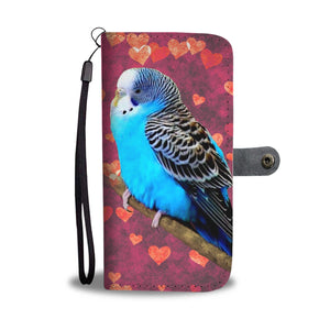 Blue Budgie On Hearts Print Wallet Case-Free Shipping