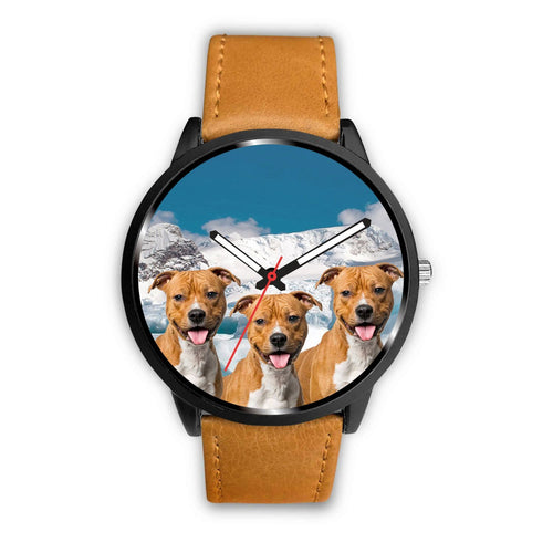 Laughing American Staffordshire Terrier Print Wrist Watch - Free Shipping