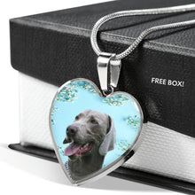 Weimaraner Dog Print Heart Pendant Luxury Necklace-Free Shipping
