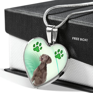Cute Weimaraner Print Heart Pendant Luxury Necklace-Free Shipping